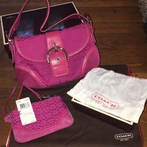 Coach signature bag with matching wristlet!